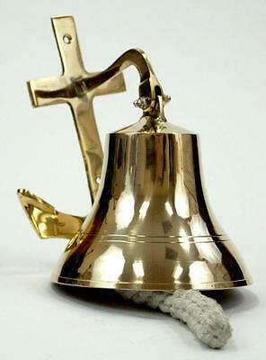 "NAUTICAL Marine NAVIGATION 6"" Solid Brass SHIP BELL with ANCHOR BRACKET New"
