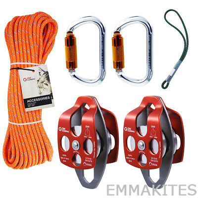 """Tree Climbing Pulley System Kit Set with 18"""" Prusik Loop Professional Arborist"""