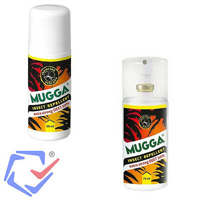 Mugga Effective Insect Mosquito Repellent 8 hours Tropical Travel Spray Roll-on