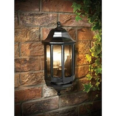 Saxby 1818S 60W Black Outdoor Garden Security IP44 Half Lantern Wall Light