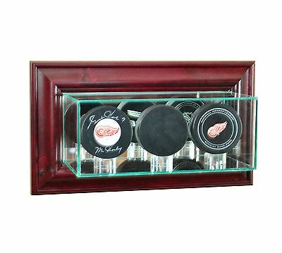 Wall Mounted Triple Hockey Puck Glass Display Case NHL