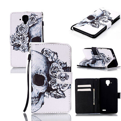 New Skull Patterned PU Leather Flip Wallet Stand Case Cover For Mobile Phones