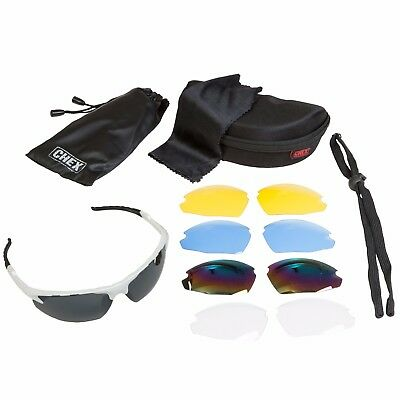 CHEX Ace Cricket Sports Sunglasses 5 Interchangeable Lenses Inc Rainbow & Clear