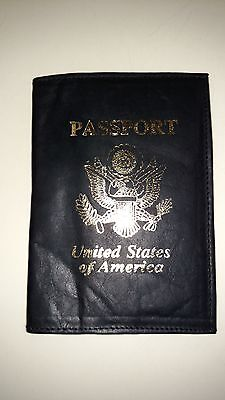New USA Eagle Leather Passport Book ID Holder Case Organizer Black