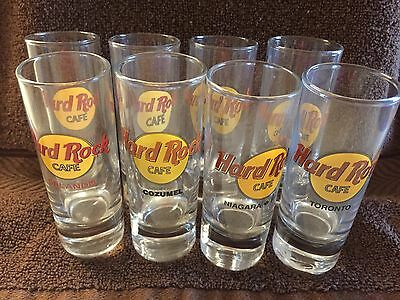 "8 Different Tall 4"" Hard Rock Cafe Shot Glass Glasses Collector Shooters"