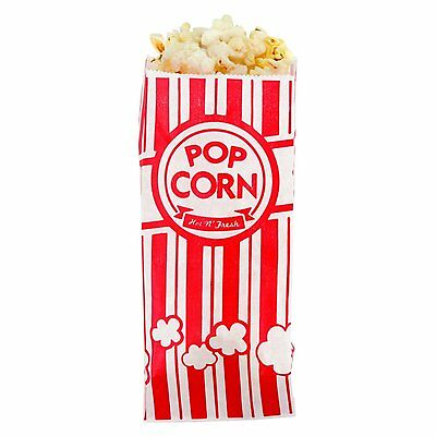 Carnival King Paper Popcorn Bags 1 Ounce Pack of 100 Red and White