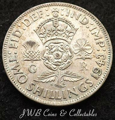 1943 George VI .500 Silver Florin / Two Shillings Coin - Great Britain