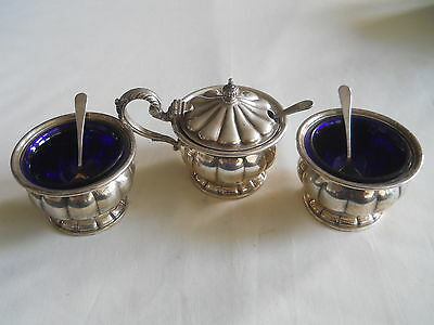 VINTAGE BIRKS 925 Sterling cobalt blue liners Salt Pepper Cellars Mustard Pot