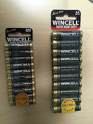 10 or 20 or 30 or 50 or 100 pcs Wincell AAA or AA Batteries Super Heavy Duty NEW