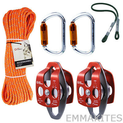 Tree Climbing Kit Rigging Line Pulley Carabiner Prusik Eye to Eye for Arborist