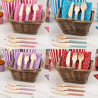 Wooden Cutlery Sets Carnival Birthday Party Tableware Baby Shower Christening