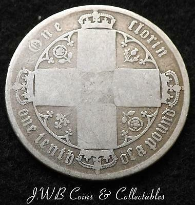 1872 Queen Victoria Silver Gothic Florin / Two Shillings Coin Great Britain