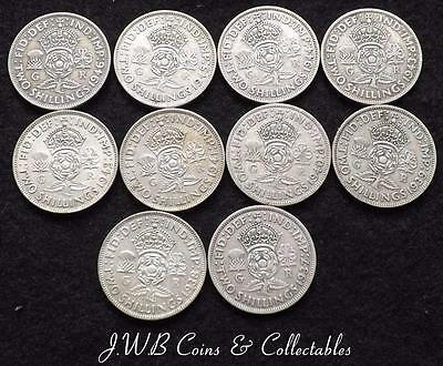 1937-1946 Date Run Of George VI .500 Silver Florins / Two Shilling Coins,