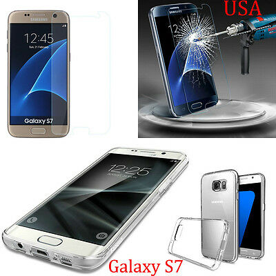 Tempered Glass Screen Protector + Clear TPU Gel Case For Samsung Galaxy S7 USA