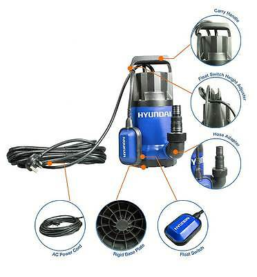 900w Hyundai Electric Submersible Clean Water Pump for Flooding, Drainage, Ponds