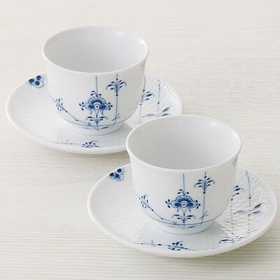 ROYAL COPENHAGEN Blue Palmette Pair tea cup and saucer  from Japan F/S EMS