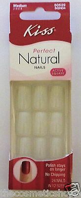 KISS PERFECT NATURAL ACTIVE SQUARE TIPS 24 GLUE ON PRESS ON NAILS  #50529 Org