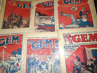 6 x The Gem Library Martin Clifford Billy Bunter Author Pre War Issues