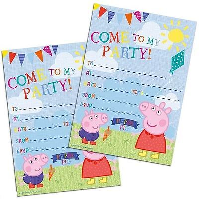 Peppa Pig Summer Time Invitations - PK20 - Party Stationary Supplies