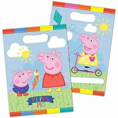 8 Peppa Pig Summer Time Loot Bag Plastic Birthday Party Bags Childrens Supplies