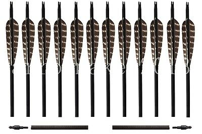 12PK Traditional Eagle Carbon Arrows Hunting Field tip For Compound Recurve Bow