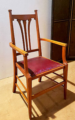 Arts And Crafts Golden Oak Leather Carver Desk Library Chair