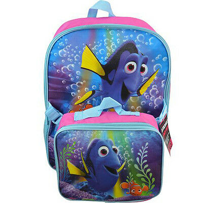 """Backpack 16"""" + Detachable Lunch Bag Disney Finding Dory NWT"""