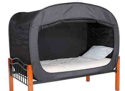 Black Privacy Tent for Full Size Bed, Sleep Relax Changing Area Dorm Shared Room
