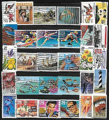 30 Used 1988 - 1995 USA Mostly Commemorative Postage Stamps All Different.