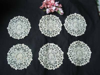 Antique Lace Set of 6 Bobbin Needlelace Handmade Monogram Doilies Victorian