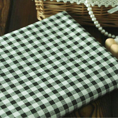 Check Linen/Cotton Fabric Country Style Upholstery Table Cloth Craft By Meter