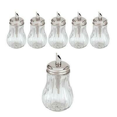 6x Sugar Holder with Pourer 'Tilt-a-Spoon', 285mL, Glass Body, Cafe / Restaurant