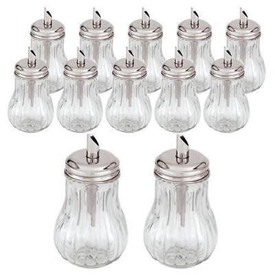 12x Sugar Holder with Pourer 'Tilt-a-Spoon' 285mL Glass Body Cafe Restaurant NEW