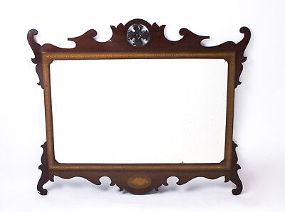 Antique Edwardian Mahogany Inlaid Marquetry Mirror c.1900 - 93 x 113 cm