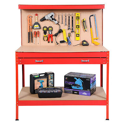 Garage Tool Box Work Bench Storage Steel Workshop Station Pegboard Shelf Red FDS