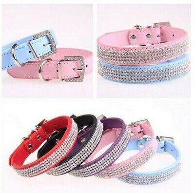 Leather Dog Collar Diamante Puppy Bling Yorkie Teacup Chihuahua Toy to Large Dog
