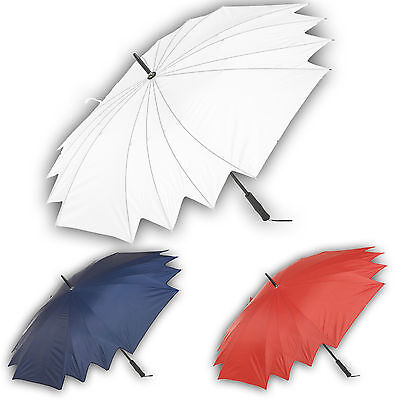 White Wedding Bride Bridesmaid Umbrella Large Black Handle Bridal Rain Brolly