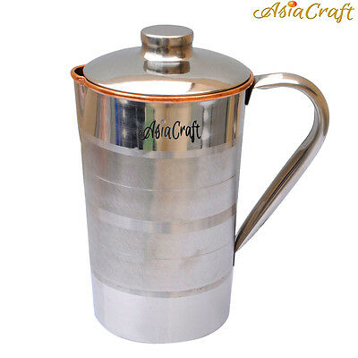 AsiaCraft Stainless Steel Copper Jug with Lid for Health Benefits