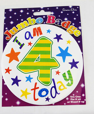 Happy 4 Today Birthday Age 4th Jumbo Star Badge Boy Girl Unisex Accessory Gift