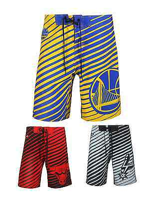 NBA Basketball Team Logo Poly Stripes Swimsuit Board Shorts - Pick Your Team!
