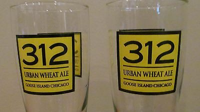 Set of 2   312 Urban Wheat Ale Goose Island Chicago Beer Glasses