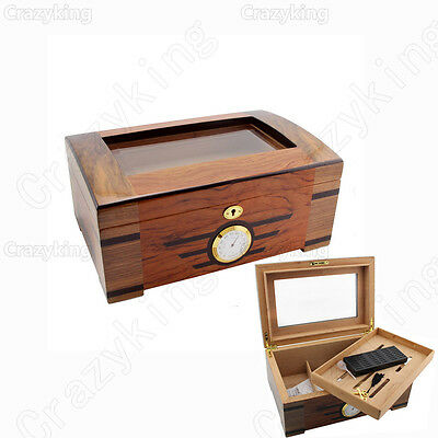 COHIBA Spanish Cedar Wood Glass CIGAR HUMIDOR With Hygrometer Humidifier Lock