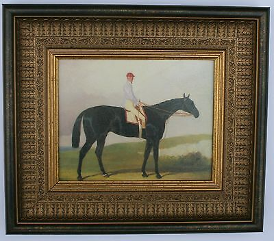 Horse and Jockey  Framed Oleograph R212#W   Reproduction Antiques  , Art