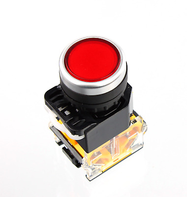 22mm Panel Mount latching DPST Control Push Button Switch Red AC 400V 10A