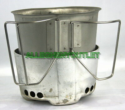 USGI Military Aluminum Canteen Cup STOVE STAND HEATER w/ Bottom MINT