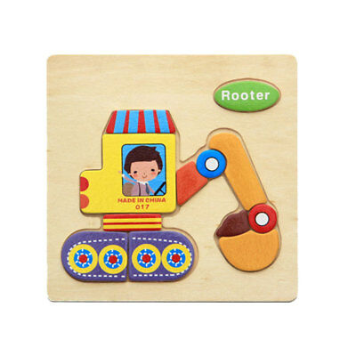 Wooden Cartoon Rooter Blocks Toddler Baby Kids Child Educational Toy Puzzle