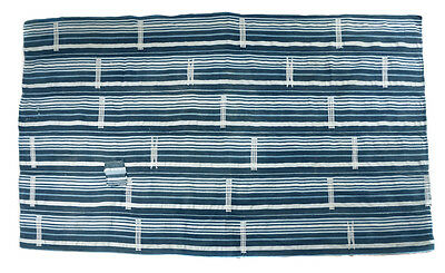 old unisex vintage striped embroidered indigo cloth, Burkina Faso E110