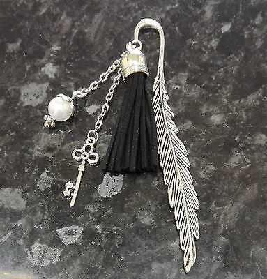 50 Fifty Shades of Grey Inspired Feather Leather Tassle Key Bookmark Silver 12cm