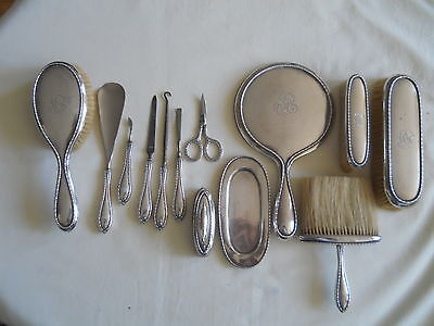 Birks Sterling 13 Pc Vanity Dresser Set Nice