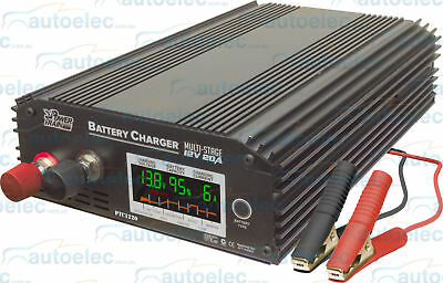 Power Train 20 Amp 8 Stage Smart Battery Charger Agm Gel Led Display 12 Volt